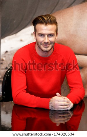 NEW YORK-FEB 1: David Beckham attends the launch of his new Bodywear range at the H&M Super Bowl Event at H&M Times Square on February 1, 2014 in New York City. - stock photo