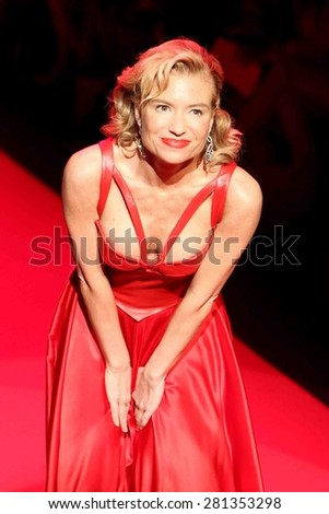 NEW YORK-FEB 12: Fitness entrepreneur Tracy Anderson wears Ina Soltani at Go Red for Women-The Heart Truth Red Dress Collection at Mercedes-Benz Fashion Week on February 12, 2015 in New York City. - stock photo