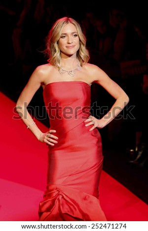 NEW YORK-FEB 12: Kristin Cavallari wears Monique Lhuillier at Go Red for Women-Heart Truth Red Dress Collection at Mercedes-Benz Fashion Week at Lincoln Center on February 12, 2014 in New York City. - stock photo