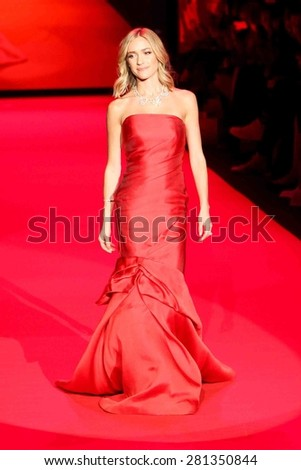 NEW YORK-FEB 12: Kristin Cavallari wears Monique Lhuillier at Go Red for Women-The Heart Truth Red Dress Collection at Mercedes-Benz Fashion Week on February 12, 2015 in New York City. - stock photo