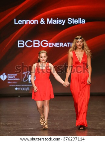 NEW YORK-FEB 11: Maisy Stella (L) and Lennon Stella wear BCBGeneration at Go Red for Women Red Dress Collection 2016 Presented by Macy's at New York Fashion Week on February 11, 2016 in New York City. - stock photo