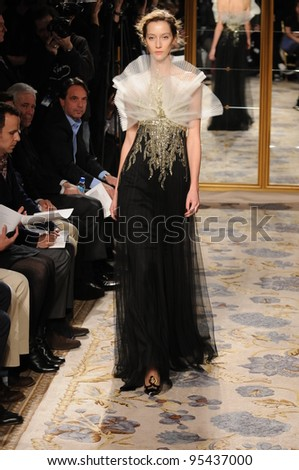 NEW YORK - FEBRUARY 15: A Model walks runway at Marchesa Fall/Winter 2012 presentation at Plaza hotel during New York Fashion Week on February 15, 2012 in NYC. - stock photo