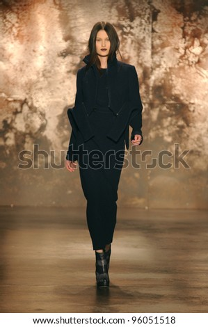 NEW YORK - FEBRUARY 11: A Model walks runway for Sally La Pointe Fall/Winter 2012 presentation in Center 548 during New York Fashion Week on February 11, 2012 in NYC. - stock photo