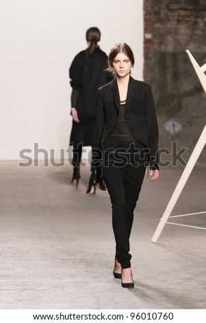 NEW YORK - FEBRUARY 10: A Model walks runway for Tess Giberson Fall/Winter 2012 presentation in Lincoln Center during New York Fashion Week on February 10, 2012 in NYC.