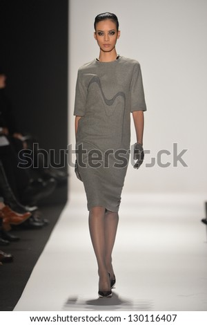 NEW YORK - FEBRUARY 08: A model walks the runway at the Academy of Art University Fall Winter 2013 Fashion Show during Mercedes-Benz Fashion Week on February 8, 2013 in New York City.