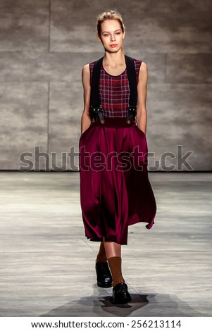NEW YORK - FEBRUARY 12: A model walks the runway at the Costello Tagliapietra Fall/Winter 2015 collection during Mercedes-Benz Fashion Week in New York on February 12, 2015. - stock photo