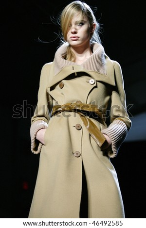 NEW YORK - FEBRUARY 11: A model walks the runway at the Mackage Collection for Fall/Winter 2010 during Mercedes-Benz Fashion Week on February 11, 2010 in New York.
