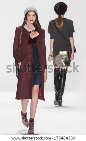 NEW YORK - FEBRUARY 07 2014: A model walks the runway during the Rebecca Minkoff fall 2014 fashion show at New York Mercedes - Benz Fashion Week - stock photo