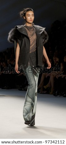 NEW YORK - FEBRUARY 14: A model walks the runway in the Vera Wang Fall 2012 collection during Mercedes-Benz Fashion Week on February 14, 2012 in New York City. - stock photo