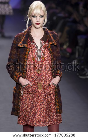 NEW YORK - FEBRUARY 12 2014: Ashleigh Good walks the runway during Anna Sui Fall 2014 fashion show at New York Mercedes - Benz Fashion Week