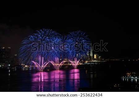 New York, February 17, 2015 - Fireworks over Hudson River in celebration of Chinese New Year. - stock photo