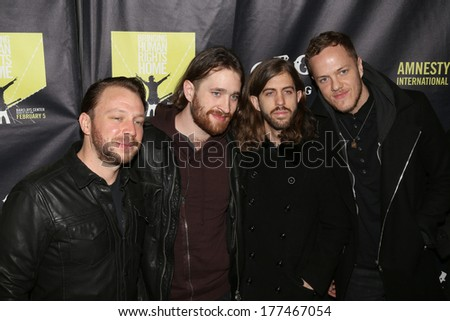 NEW YORK - February 5, 2014: Imagine Dragons attend the Bringing Human Rights Home concert on February 5, 2014 in Brooklyn, New York.