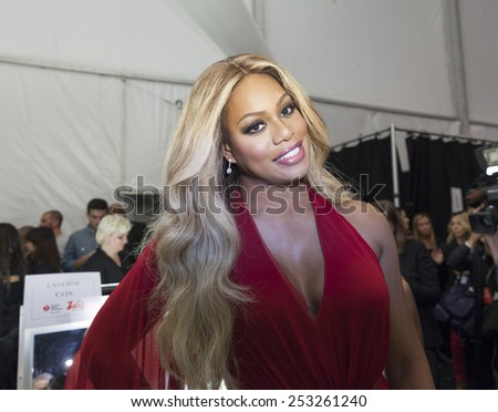 NEW YORK - FEBRUARY 12, 2015: Laverne Cox prepares backstage for the Heart Truth Red Dress Collection 2015 fashion show as part of Fall 2015 Mercedez-Benz Fashion Week at Lincoln Center - stock photo