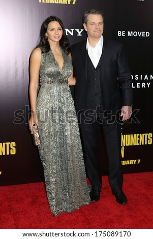 "NEW YORK - February 4, 2014: Luciana Barroso and Matt Damon attend the premiere of ""The Monuments Men"" at the Ziegfeld Theater on February 4, 2014 in New York City."