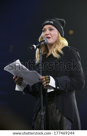 NEW YORK - February 5, 2014: Madonna speaks during the Bringing Human Rights Home concert on February 5, 2014 in Brooklyn, New York.