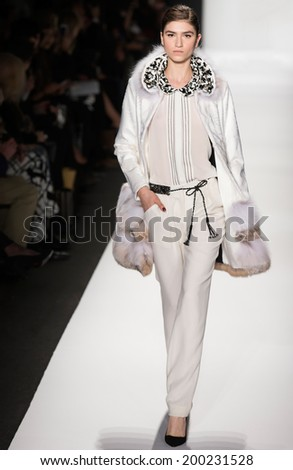 NEW YORK - FEBRUARY 10 2014: Marcele Dal Cortivo walks the runway during Dennis Basso Fall 2014 fashion show at New York Mercedes - Benz Fashion Week - stock photo