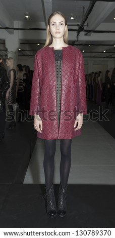 NEW YORK - FEBRUARY 10: Model shows off dresses during Fall/Winter 2013 presentation for Catherine Malandrino collection at Mercedes-Benz Fashion Week at Center 548 on February 10, 2013 in New York