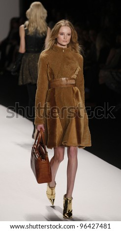 NEW YORK - FEBRUARY 15: Model walks on runway for J. Mendel collection by Gilles Mendel during Fashion week at Lincoln Center in Manhattan on February 15, 2012 in New York City - stock photo