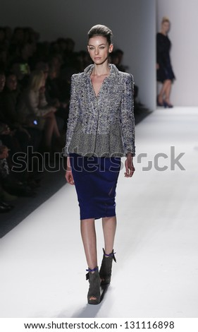 NEW YORK - FEBRUARY 09: Model walks runway during Fall/Winter 2013 presentation for collection by Son Jung Wan at Mercedes-Benz Fashion Week at Lincoln Center on February 09, 2013 in New York