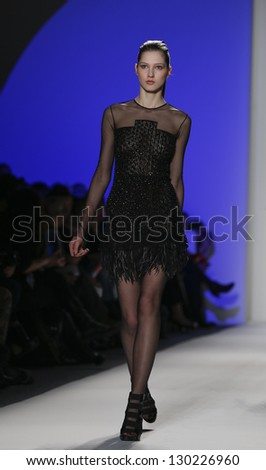 NEW YORK - FEBRUARY 10: Model walks runway during Fall/Winter 2013 presentation for Joanna Mastroianni collection at Mercedes-Benz Fashion Week at Lincoln Center on February 10, 2013 in New York
