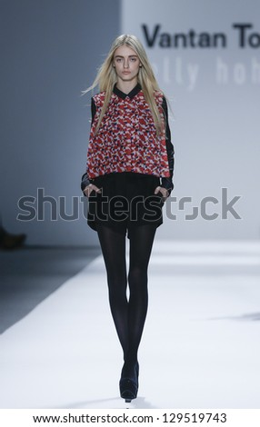 NEW YORK - FEBRUARY 12: Model walks runway during Fall/Winter 2013 presentation for Vantan Tokyo collection by Nelly Hohmann at Mercedes-Benz Fashion Week at Lincoln Center on Feb 12, 2013 in New York