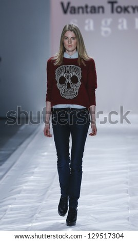 NEW YORK - FEBRUARY 12: Model walks runway during Fall/Winter 2013 rehearsal for Vantan Tokyo collection at Mercedes-Benz Fashion Week at Lincoln Center on February 12, 2013 in New York