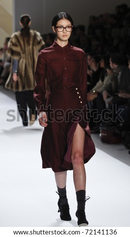 NEW YORK - FEBRUARY 12: Model walks runway for Adam collection by Adam Lippes at Mercedes-Benz Fall/Winter 2011 Fashion Week on February 12, 2011 in New York City.