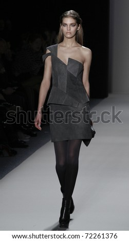 NEW YORK - FEBRUARY 11: Model walks runway for collection by Nicole Miller at Mercedes-Benz Fall/Winter 2011 Fashion Week on February 11, 2011 in New York City.