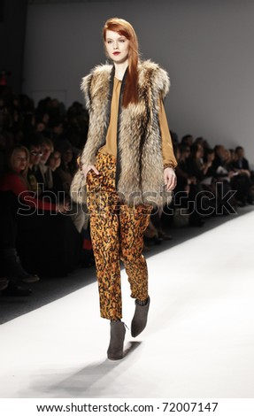 NEW YORK - FEBRUARY 13: Model walks runway for collection Cynthia Steffe by Shaun Kearney collection at Mercedes-Benz Fall/Winter 2011 Fashion Week on February 13, 2011 in New York City - stock photo
