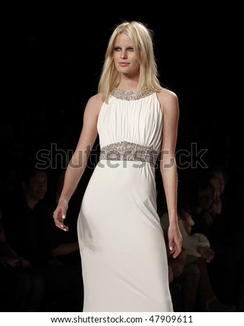 NEW YORK - FEBRUARY 12: Model walks the runway at Naomi Campbell's Fashion For Relief Haiti NYC 2010 Fashion Show during Mercedes-Benz Fashion Week on February 12, 2010 in New York - stock photo