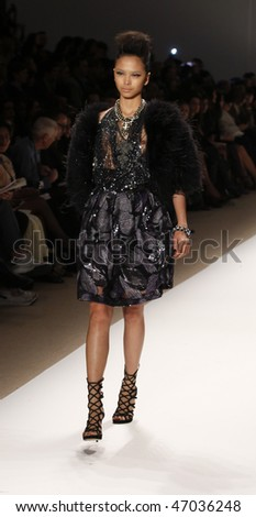 NEW YORK - FEBRUARY 18: Model walks the runway for Naeem Khan Collection at Fall 2010 during Mercedes-Benz Fashion Week on February 18, 2010 in New York