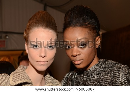 NEW YORK - FEBRUARY 10: Models gets ready backstage for Rebacca Taylor Fall/Winter 2012 presentation in Lincoln Center during New York Fashion Week on February 10, 2012 in NYC.