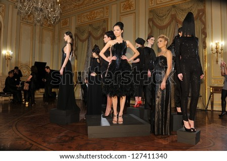 NEW YORK - FEBRUARY 06: Models poses at static presentation for Russian Fashion Industry Reception F/W 2013 in Consulate General of the Russian Federation in NY on February 06, 2013 in NYC. - stock photo