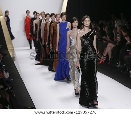 NEW YORK - FEBRUARY 13: Models walk runway during Fall/Winter 2013 presentation for J. Mendel collection at Mercedes-Benz Fashion Week at Lincoln Center on February 13, 2013 in New York - stock photo
