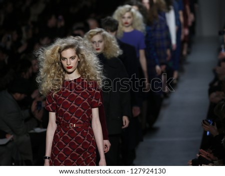 NEW YORK - FEBRUARY 11: Models walk runway during Fall/Winter 2013 presentation for Marc by Marc Jacobs collection at Mercedes-Benz Fashion Week at Lincoln Center on February 11, 2013 in New York - stock photo