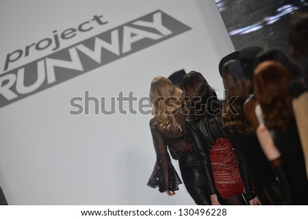 NEW YORK - FEBRUARY 08: Models walk the runway finale at the Project Runway Fall Winter 2013 fashion show during Mercedes-Benz Fashion Week on February 8, 2013 in New York City. - stock photo