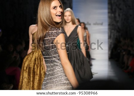 NEW YORK - FEBRUARY 14: Models walks runway at the Pamella Roland Fall/Winter 2012 collection presentation at Lincoln center during New York Fashion Week on February 14, 2012 in New York City.