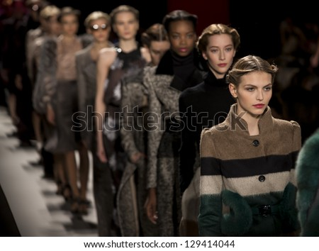 NEW YORK - FEBRUARY 11: The models are walking the closing of runway at Carolina Herrera Collection for Fall/Winter 2013 during Mercedes-Benz Fashion Week on February 11, 2013 in New York - stock photo