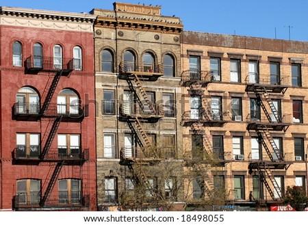 New York fire escape ladder - stock photo
