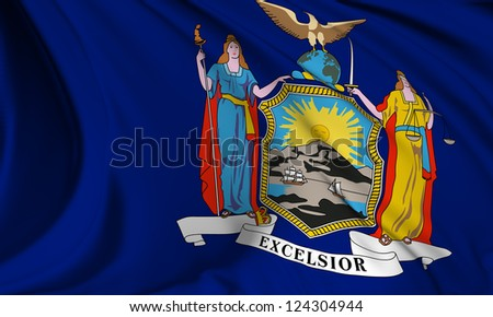 New York flag - USA state flags collection no_3 - stock photo