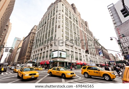 NEW YORK - JAN 6: City streetlife in point of intersection of 7th Av. and 34th st. near the Macy's on January 6, 2011 in Manhattan, New York City - stock photo