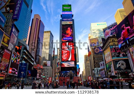 NEW YORK  - JAN 6: Featured with Broadway Theaters and animated LED signs, is a symbol of New York City and the United States, January 6, 2011 in Manhattan, New York City - stock photo