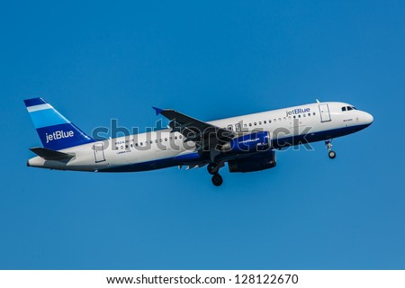 NEW YORK - JANUARY 9: Airbus A320 JetBlue climb after take off from JFK in New York USA on January 9, 2013 The A320, the first narrow body airliner, is the biggest competition to Boeing 737NG