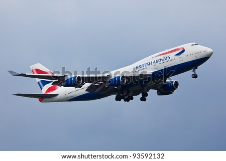NEW YORK - JANUARY 11: Boeing 747 British Airways climbs after take off from JFK in New York USA on January 11, 2012 British Airways is one of the oldest airlines and rated top 3 biggest in Europe - stock photo
