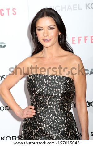 "NEW YORK - JANUARY 31:  Catherine Zeta-Jones attends the premiere of ""Side Effects"" at AMC Lincoln Square Theater on January 31, 2013 in New York City."