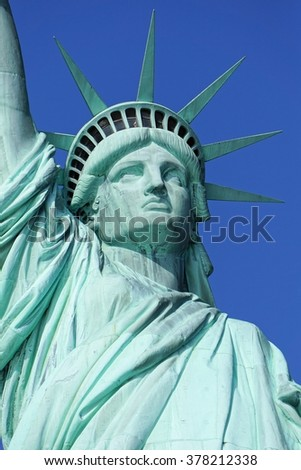 New York - January 30, 2016: Close up of Statue of Liberty on January 30, 2016. Statue of Liberty is one of the most recognizable landmarks of New York City.