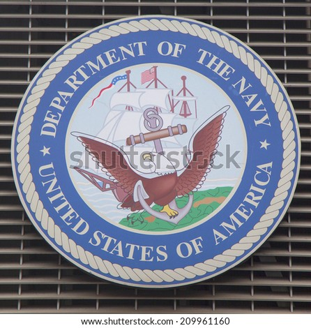 NEW YORK - JANUARY 26: Department of the Navy logo on U.S. Armed Forces Recruiting Station at Times Square on January 26, 2014. - stock photo