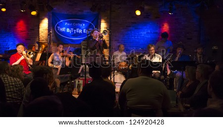 NEW YORK - JANUARY 12: Ghost Train Orchestra performs on stage as part of NYC Winter Jazz Festival at The Bitter End on January 12, 2013 in New York City - stock photo