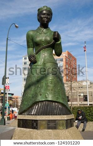 NEW YORK - JANUARY 6, 2013: Harriet Tubman Statue on January 6, 2013 in Harlem, New York. Harriet Tubman was an African-American abolitionist and humanitarian during the American Civil War. - stock photo
