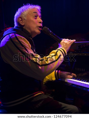 """NEW YORK - JANUARY 11: Monti Alexander """"Harlem - Kingston Express"""" band performs on stage as part of NYC Winter Jazz Festival at Le Poisson Rouge on January 11, 2013 in New York City - stock photo"""